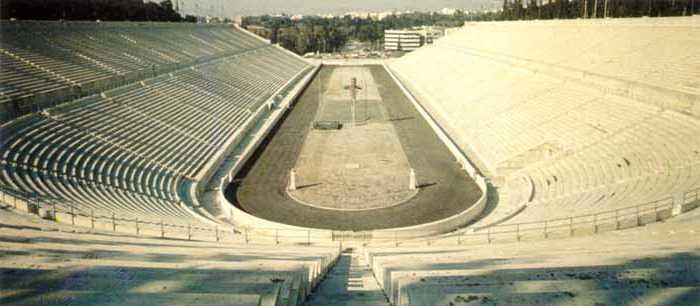 Το Παναθηναϊκό Στάδιο (Καλλιμάρμαρο), που φιλοξένησε τους πρώτους Ολυμπιακούς Αγώνες (1896)